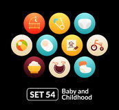 Flat icons set 54 - baby and childhood. For phone watch or tablet Stock Photos