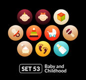 Flat icons set 53 - baby and childhood Royalty Free Stock Images