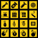 Flat icons set with bombs Royalty Free Stock Photography