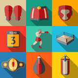Flat icons set, boxing - gloves, shorts, helmet. Flat icons set - boxing - gloves and shorts, helmet, round card, boxer, ring, belt, punch bags. Vector Stock Photos