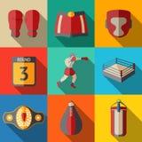 Flat icons set, boxing - gloves, shorts, helmet Stock Photos