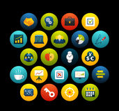 Flat icons set 25. Business and company, for phone watch or tablet, isolated on black background Royalty Free Stock Images