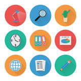 Flat Icons Set. Business Office. Vector Stock Image