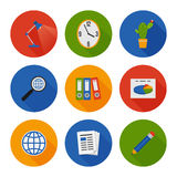 Flat Icons Set. Business Office. Vector. Illustration Royalty Free Stock Images