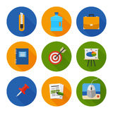 Flat Icons Set. Business Office. Vector Stock Images