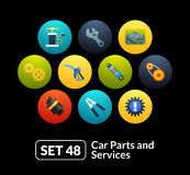 Flat icons set 48 - car parts and services. For phone watch or tablet Stock Image