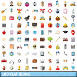 100 flat icons set, cartoon style Stock Images