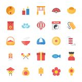 Flat Icons Set of Chinese Elements. A creative flat  icons pack of Chinese elements portraying Chinese tradition and culture. This colorful icons set is a must Royalty Free Stock Photos
