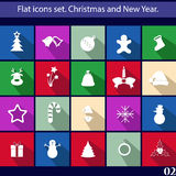 Flat icons set. Christmas and New Year. Vector Royalty Free Stock Image