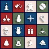 Flat icons set. Christmas and New Year. Vector Stock Photo