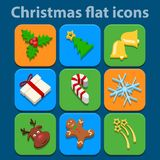 Flat icons set. Christmas and New Year. Vector Royalty Free Stock Images