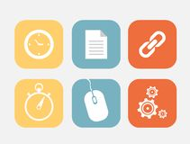 Flat icons set. Clock link timer mouse setting Stock Images