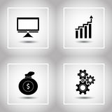 Flat icons set. Computer, suck of money, gear, graph. Vector illustration Royalty Free Stock Image