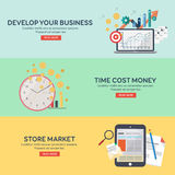 Flat icons set develope your bussines, time cost money, store market. Infographics elements collection. Concepts for web banners and promotional materials Vector Illustration