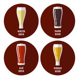Flat icons set of different types of beer Royalty Free Stock Photo