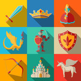 Flat icons set, fairytale, game - sword, bow Royalty Free Stock Images