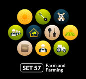 Flat icons set 57 - farm and farming Royalty Free Stock Images
