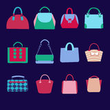 Flat icons set of fashion bags collection Stock Image