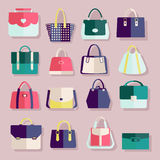 Flat icons set of fashion bags Stock Photos