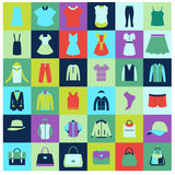 Flat icons set of fashion clothing and bags Royalty Free Stock Image