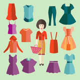 Flat icons set of fashion clothing Royalty Free Stock Photo
