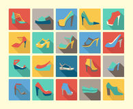 Flat icons set of fashion Footwear Stock Images