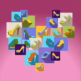 Flat icons set of fashion Women Shoes Royalty Free Stock Image