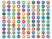 Flat icons. Set of 100 flat icons. File is eps10 and contains some transparencies Stock Photography