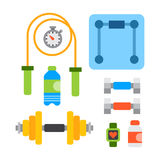 Flat icons set of fitness sport equipment and healthy lifestyle exercise supplements well-being body modern design style Royalty Free Stock Photography
