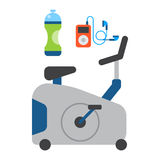 Flat icons set of fitness sport equipment and healthy lifestyle exercise supplements well-being body modern design style Stock Photos