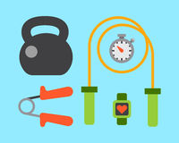 Flat icons set of fitness sport equipment and healthy lifestyle exercise supplements well-being body modern design style Stock Image