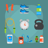 Flat icons set of fitness sport equipment and healthy lifestyle exercise supplements well-being body modern design style Royalty Free Stock Image