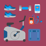 Flat icons set of fitness sport equipment and healthy lifestyle exercise supplements well-being body modern design style Stock Photography