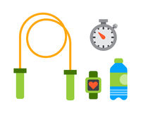 Flat icons set of fitness sport equipment and healthy lifestyle exercise supplements Stock Images
