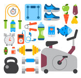 Flat icons set of fitness sport and healthy lifestyle exercise diet food supplements well-being body modern design style Royalty Free Stock Photos