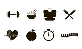 Flat icons set of fitness, sport and healthy lifestyle style vector symbol collection Stock Photography