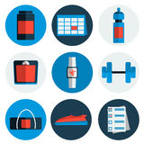 Flat icons set of fitness, sport Stock Photos