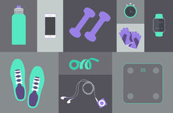 Flat icons set of fitness tools elements Gym bag Royalty Free Stock Image