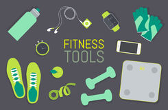 Flat icons set of fitness tools elements Gym bag Royalty Free Stock Photo