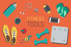 Flat icons set of fitness tools elements Gym bag Royalty Free Stock Photos