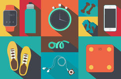 Flat icons set of fitness tools elements Gym bag Stock Image