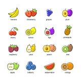 Flat icons set. Of colored fruits stock illustration