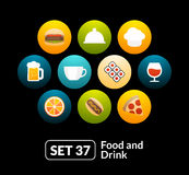 Flat icons set 37 - food and drink collection. For phone watch or tablet Stock Images