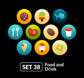 Flat icons set 38 - food and drink collection. For phone watch or tablet Royalty Free Stock Photo