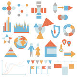Flat icons set - infographic Royalty Free Stock Images