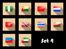 Flat icons set of international flags Stock Photography