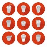 Flat icons set isometric plastic Cup. Flat icons set isometric 3d plastic Cup in  format eps10 Stock Photos