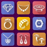Flat icons set of jewelry elements Royalty Free Stock Photography