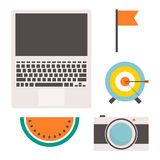 Flat icons. Set of flat icons with laptop, flag, target, watermelon and photo camera Vector Illustration