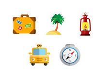 Flat icons set with long shadow effect of. Flat design style modern vector illustration icons set of traveling, summer vacation, tourism and journey objects and Stock Photos